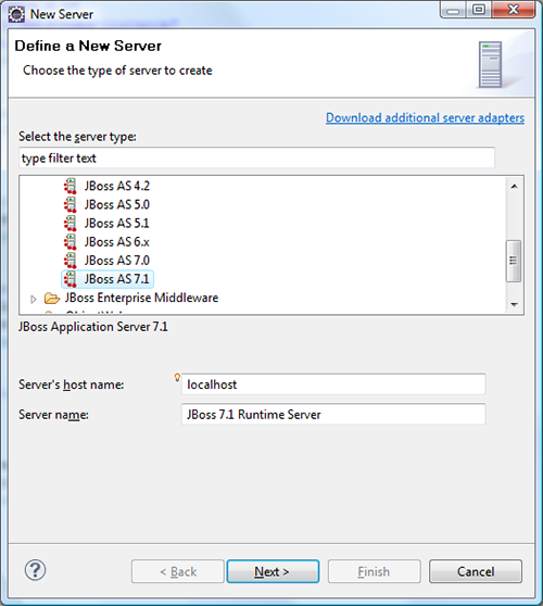 Add JBoss AS server to Eclipse